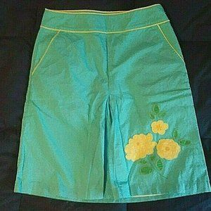 LL Bean Cotton Aqua Skirt w/Yellow Flowers 4